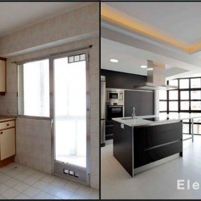 Antes y después cocina reformada ático Madrid Eleonce