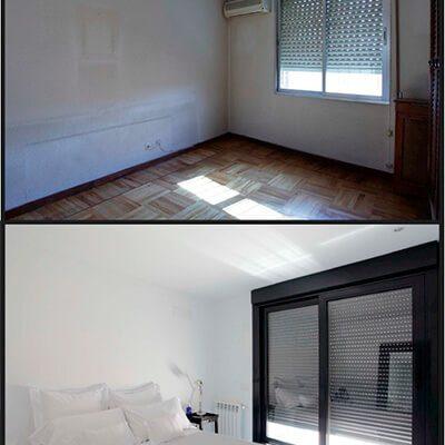 Antes y después dormitorio reformado ático Madrid Eleonce