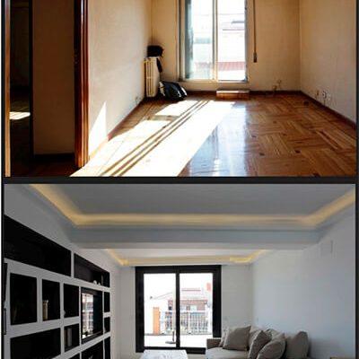 Reforma salón ático Madrid antes y después Eleonce