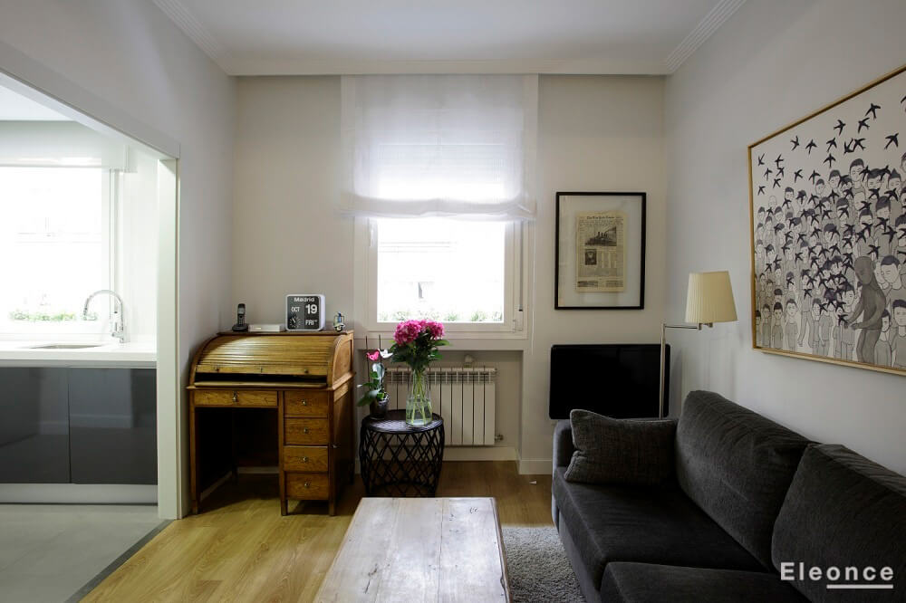 Diseño interior salón piso pequeño Chamberi Madrid Eleonce - Eleonce ...