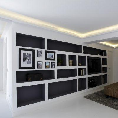 Diseño interior salón vivienda ático Madrid Eleonce