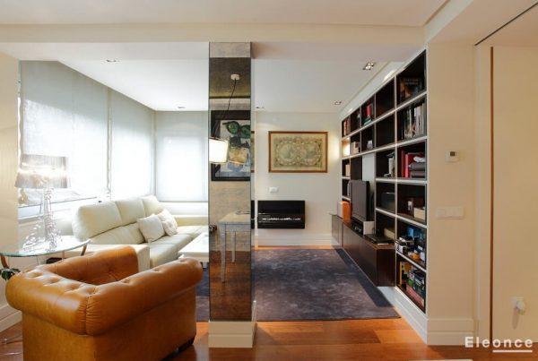 Diseño interior salón piso Chamberi Madrid Eleonce