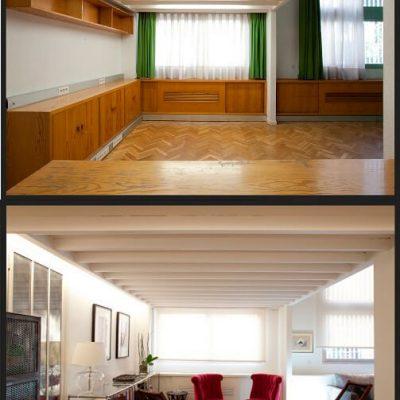 Reforma de despacho a salón antes y después Eleonce